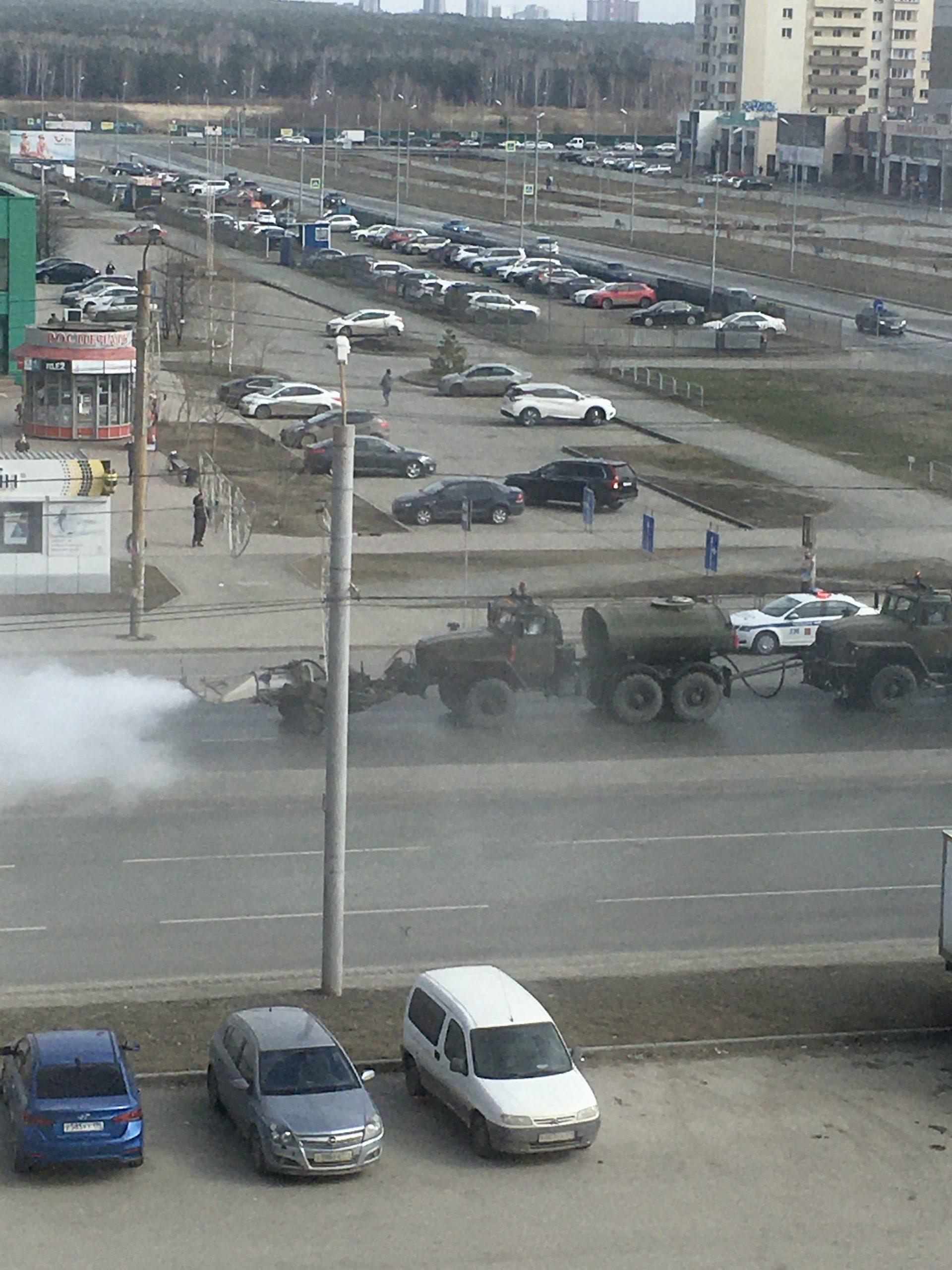 о дезинфицировании улиц Челябинска специальной техникой
